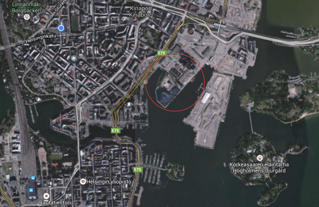 Hanasaaren voimala-alue punainen ympyrä