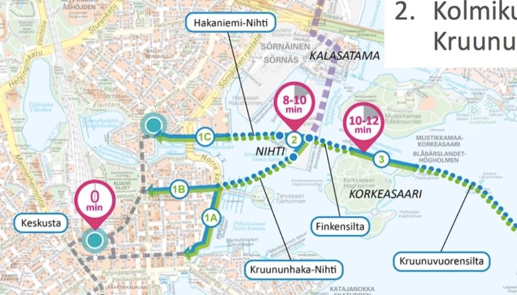 Laajasalon ja Kalasataman raitiotien keskustalinjauksen vaihtoehdoista Merihaan ja Hakaniemen kautta kulkeva vaikuttaa tällä hetkellä todennäköisimmältä.