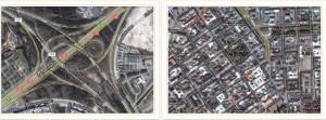 Kuvat 6: Ylempänä Lahdenväylän ja kehän liittymä ja alempana Helsingin keskustaa. Samassa mittakaavassa! Risteyksessä ei asu eikä työskentele yhtään ihmistä. Linnuntietä matka risteyksen länsipuolelta itäpuolelle on 600 metriä; kävelymatkaa sen sijaan kertoo 1,8 kilometriä.